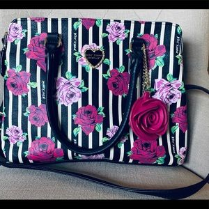 Betsey Johnson blk Stripes w/ Popping Pnk Flowers